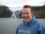 Aled on the ship between Chile and Argentina - The Beagle Channel